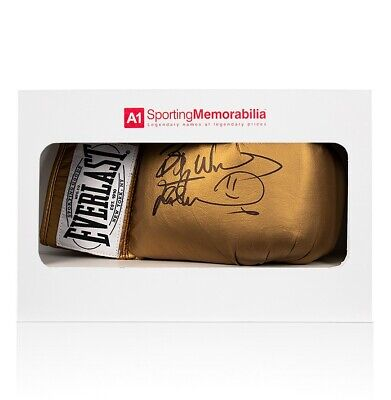 Frank Bruno Signed Boxing Glove Gold Everlast - Gift Box Autograph