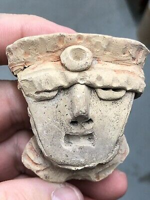 Nice Large Pre-Columbian Clay Human Effigy Pottery Head Face Statue Doll Idol Z