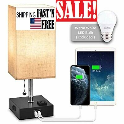 USB Bedside Table Lamp,Nightstand Lamp with Dual Charging Ports,LED Desk Lamps