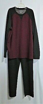 Orvis Mens 2-Piece Loungewear Pajama Set  Maroon Gray Size Large Super Soft