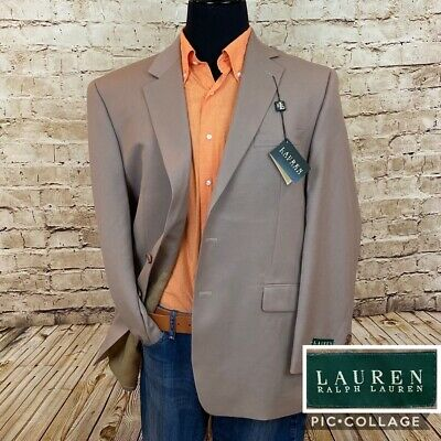 Lauren Ralph Mens Two Button Suit Jacket Blazer Beige Wool 44R Regular New
