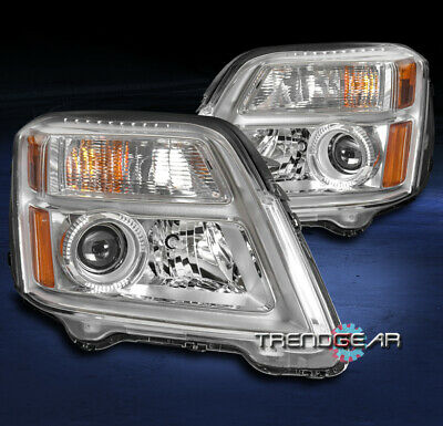 For 2010-2015 Gmc Terrain Suv Projector Headlight Headlamp Lamp Chrome Lh+Rh Set