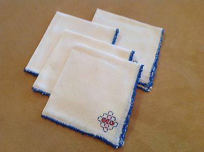 Four Vintage Cotton Napkins, White, Blue, Red, Pink Embroidery, Blue Trim Edge