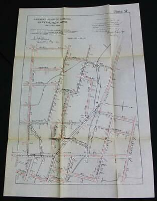 Geneva New York City Street Road & Amended Sewer Lines Map 1896 Vintage