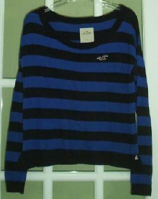 Hollister Royal Blue & Navy Blue Striped Sweater Women's Size Large Adorable