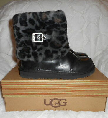 Authentic Ugg Australia Ellee Animal Black Leopard Boots Women's 7 Big Girls 5