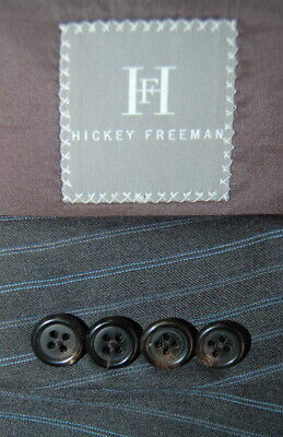 Mens 42 R Hickey Freeman Charcoal Grey Multi Stripe Wool Suit Pleat Front 37x31