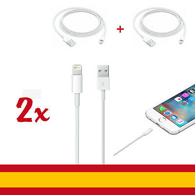 2 Cables USB Lightning Rápida Cargador Datos iphone 6,6s,7,8,X,XR,XS - Blanco
