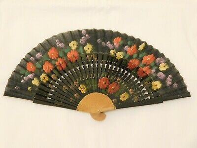 Vintage Hand Held Fan Hand Painted Pierced Wood Monture Fabric Leaf French Style
