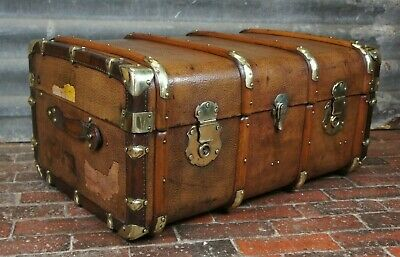 Sublime Antique Leather & Brass Bound Cabin Chest