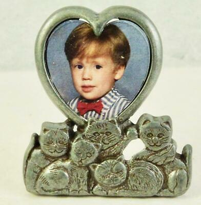 Vintage AMC Pewter Cat/Heart Shaped Standing Picture Frame