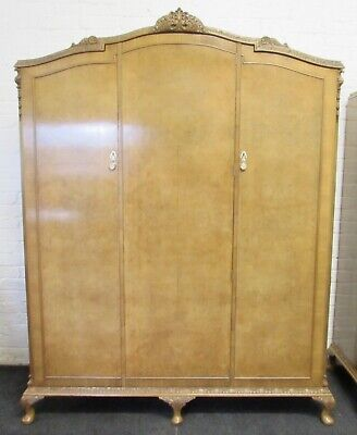 Burr Walnut 3 Door Fitted Wardrobe Queen Anne Fully Re Finished C1920
