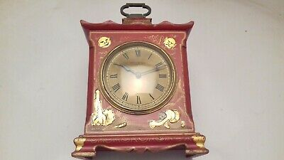 Antique Mappin Webb Chinoiserie Lacquered Mantel Clock French