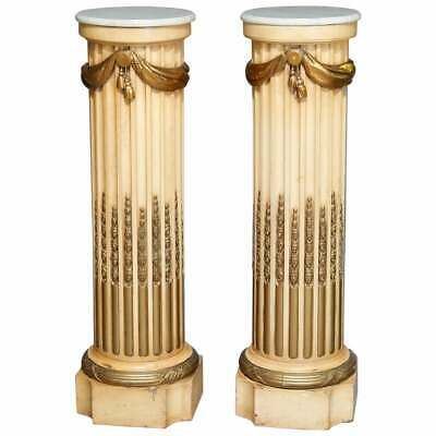 Oversized Classical Parcel-Gilt Carved Wood Pedestals with Marble Top