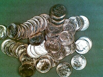 BU Roll 50 Coins of 1955-P Silver Roosevelt Dimes (001)