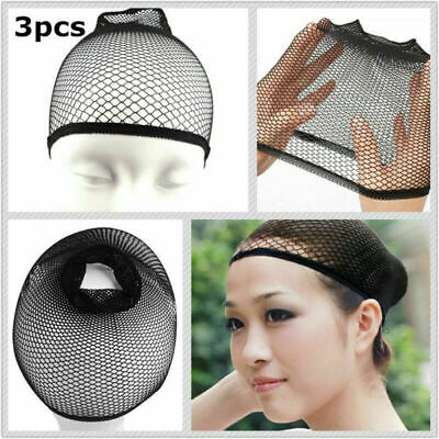 3pcs Elastic Black Hair Nets Edge Wig Mesh Net Stretch Invisible Hairnet Cover