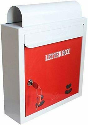 Wall Mounted Red Mailboxes Mild Steel with Newspaper Holder Home Letter Box