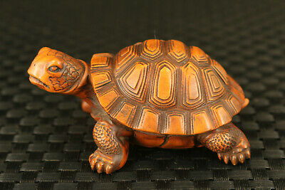 chinese boxwood hand carved turtle statue figure collectable