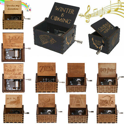 Wooden Music Box Harry Potter Game of Thrones Star Wars Hand Crank Engraved Toy