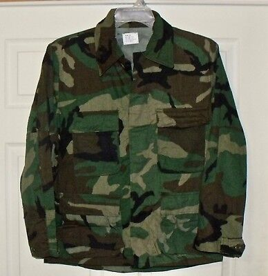 US ARMY Military Surplus BDU Field Shirt Coat Jacket Woodland Camo MED X Shirt