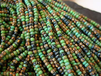 10//0 AGED MOIRAI STRIPED PICASSO CZECH SEED BEAD MIX 10g Loose