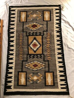 Antique Monument Valley Trading AZ Navajo Rug Storm Pattern by Gladis Richards