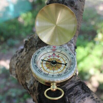 Brass Compass with Lid - Old Vintage Nautical Pocket Necklace Sport Outdoor