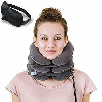 Cervical Neck Traction Device by Davismart, Inflatable Collar Brace-Gray