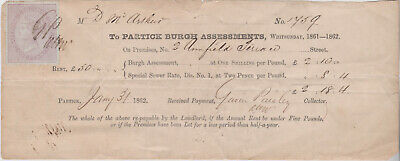 1862 Receipt Patrick Burgh Assessments with a fine large tax stamp