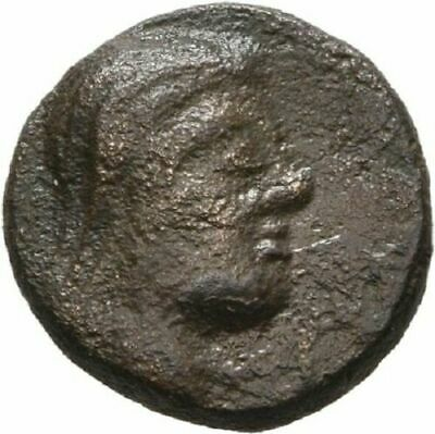 Ancient Greece 2 cent BC  small Bronze Veiled head/Bull