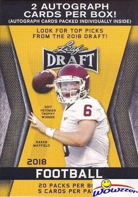 2018 Leaf Draft Football HUGE Factory Sealed 20 Pack Blaster Box-2 AUTOGRAPHS!