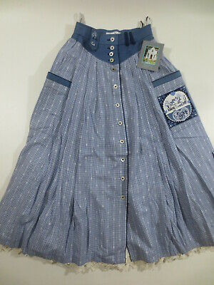 Skirt Perry Country Costume Skirt XS 34 (36) Cotton Blue Embroidery New / D3