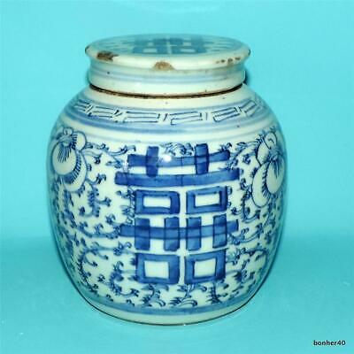 Chinese Porcelain Kamcheng Nonya Ware 19Thc Antique Blue White Vase Covered Jar