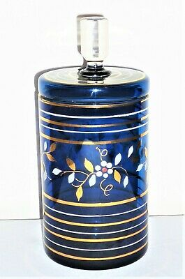 Vintage C1960'S-1970'S Italian Murano Hand Painted Cobalt Blue Glass Sweet Jar
