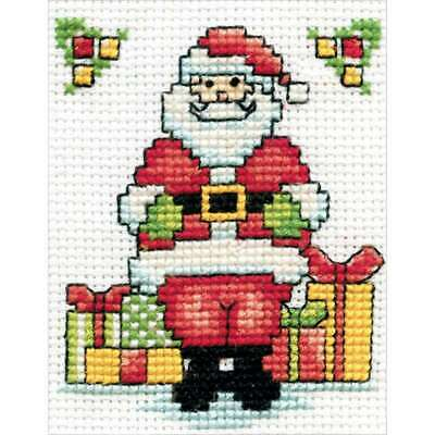 "Santa W/Frame Mini Counted Cross Stitch Kit 2""X3"" 18 Count 021465005478"