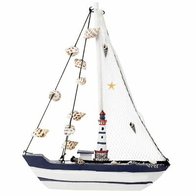 Juvale Wooden Sailing Boat Home Decor Lighthouse and Seashells Sailboat Model