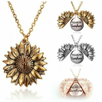 Chain Fashion Women Pendant Necklace Open Locket You Are My Sunshine Sunflower