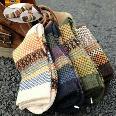 4 pair Men's Socks Casual Warm Cashmere Blend Pairs Dress Thick Winter Wool