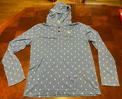 Abercrombie & Fitch Kids Boys Hooded Long Sleeve Shirt Blue White - Youth XL YXL