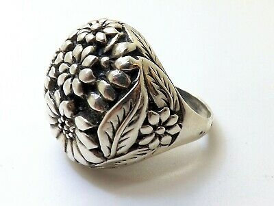 Large Antique Art Nouveau Style Sterling Silver Ring ~Size 9~