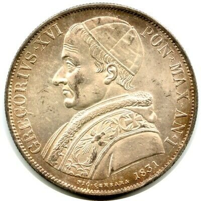 Italy 1831 Silver Scudo (crown size) Papal States Pope Gregory XVI Rome mint UNC