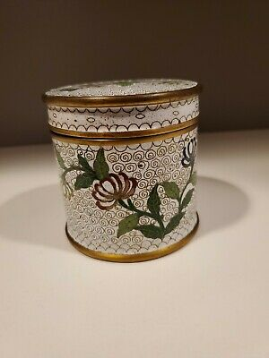 Antique Chinese Cloisonne Enamel Cigarette Box Canister Chrysanthemum