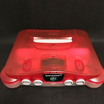 Nintendo 64 Console Only Clear Red Tested Genuine Game import Japan N64 NTSC-J