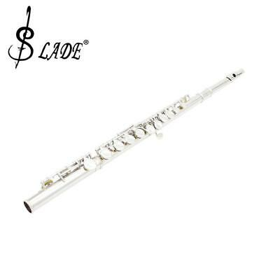 Silver Cupronickel 16 Close Hole Flute C Key for Concert Band Orchestra 67cm