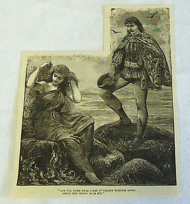 1882 magazine engraving ~ Nobelman courts woman with golden hair by the shore