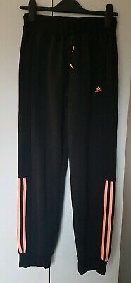 Girls Black Adidas Climalite Jogging Bottoms. Age 13-14 Yrs. Excellent...