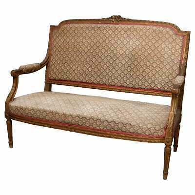 Antique French Louis XVI Carved Giltwood Parlor Settee, 19th Century