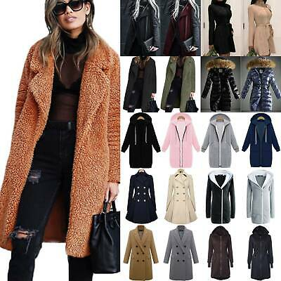 Womens Winter Warm Overcoat Thick Long Jacket Trench Coat Casual Loose Outwear