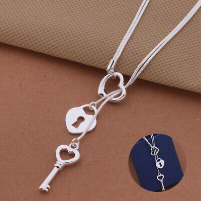 Necklace charms Fashion pendant pretty Jewelry hot Silver plated Cute Key women