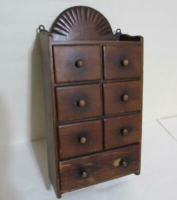 antique wood spice cabinet box cupboard apothecary 7 drawer chest vintage